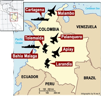 In October 2009 The Us Signed A Ten Year Contract With Colombia For Access To Seven Military Bases Image Soaw Org