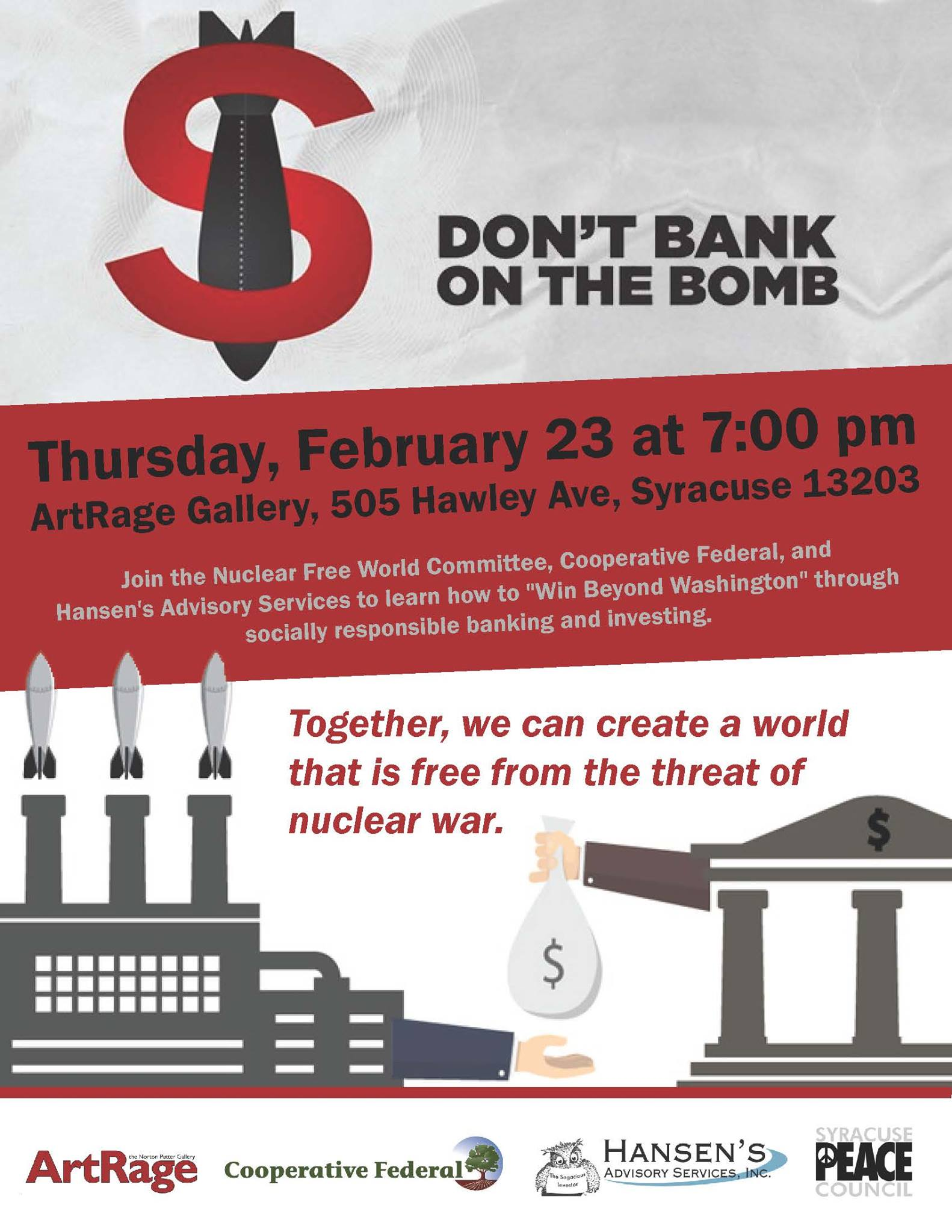 Don't Bank on the Bomb event flyer