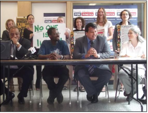 """Undocumented and unafraid at the """"Coming Out of the Shadows"""" news conference on June 25. Photo: Andy Mager"""