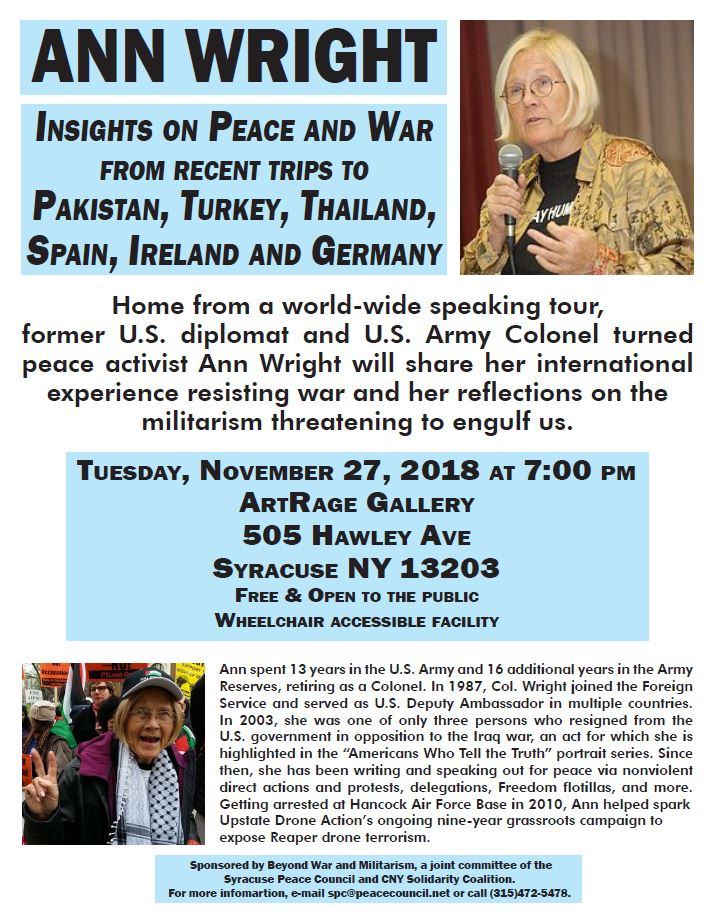Flyer for Ann Wright event