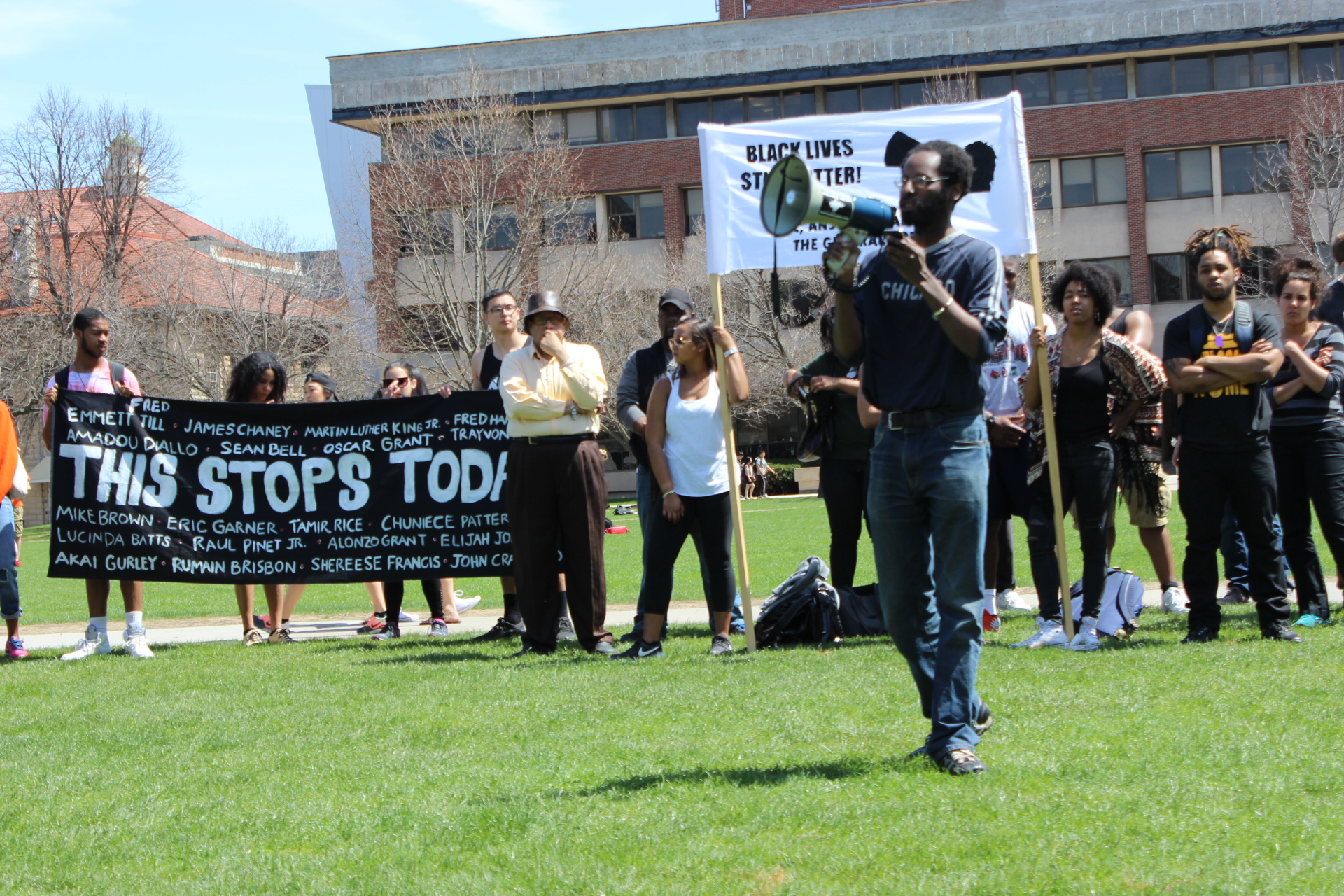 Aly Wane speaks on behalf of the Peace Council at a Black Lives Matter rally
