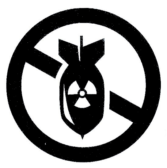 Anti-nuclear weapon symbol showing a nuclear bomb with a line through it