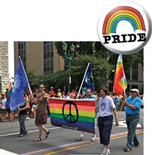 SPC has marched in the Syracuse Pride Parade for decades, expressing our commitment to the inextricable link between peace and social justice. Above Jessica Maxwell, Mike Pasquale, Wendy Yost and Jerry Lotierzo march with our rainbow> peace banner. Consid
