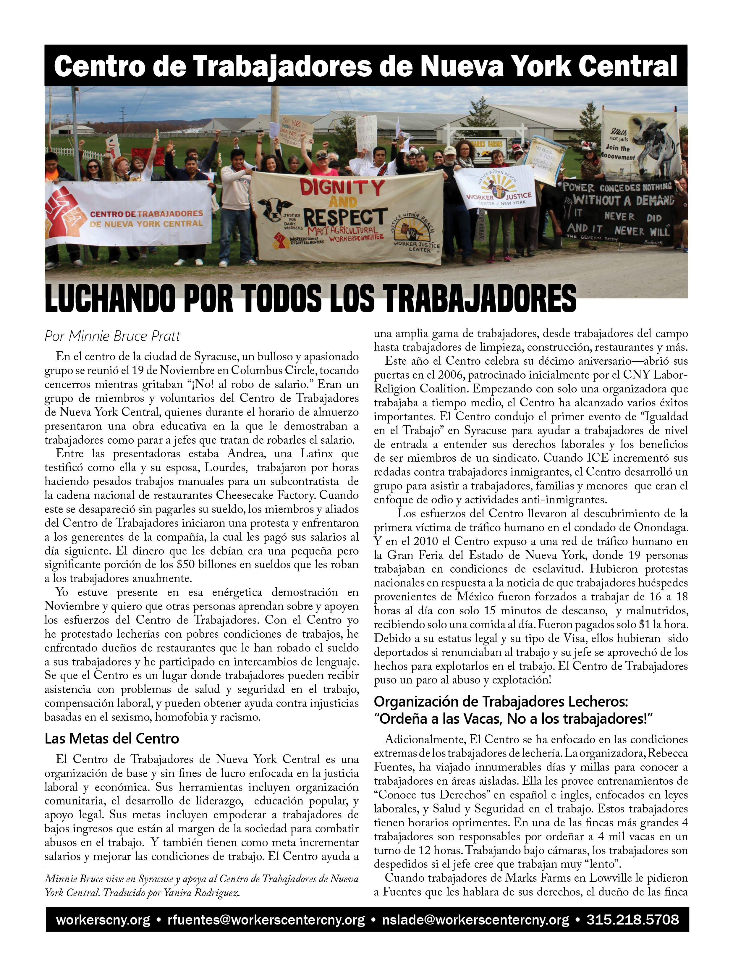 Spanish Cover of Worker's Center special pullout